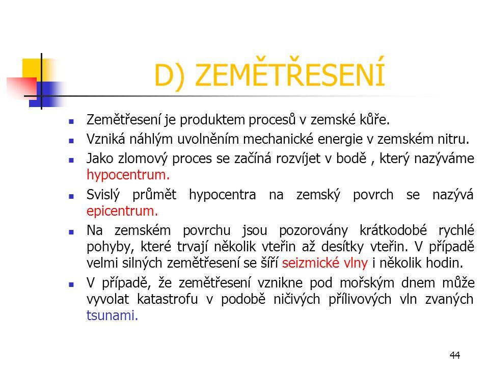 D) ZEMĚTŘESENÍ Zemětřesení je produktem procesů v zemské kůře.