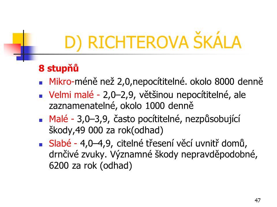 D) RICHTEROVA ŠKÁLA 8 stupňů Mikro-méně než 2,0,nepocítitelné. okolo 8000 denně Velmi malé - 2,0–2,9, většinou nepocítitelné, ale zaznamenatelné, okol