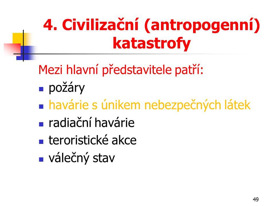 4. Civilizační (antropogenní) katastrofy Mezi hlavní představitele patří: požáry havárie s únikem nebezpečných látek radiační havárie teroristické akc