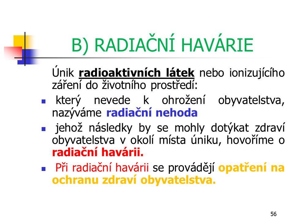 B) RADIAČNÍ HAVÁRIE Únik radioaktivních látek nebo ionizujícího záření do životního prostředí: který nevede k ohrožení obyvatelstva, nazýváme radiační nehoda jehož následky by se mohly dotýkat zdraví obyvatelstva v okolí místa úniku, hovoříme o radiační havárii.