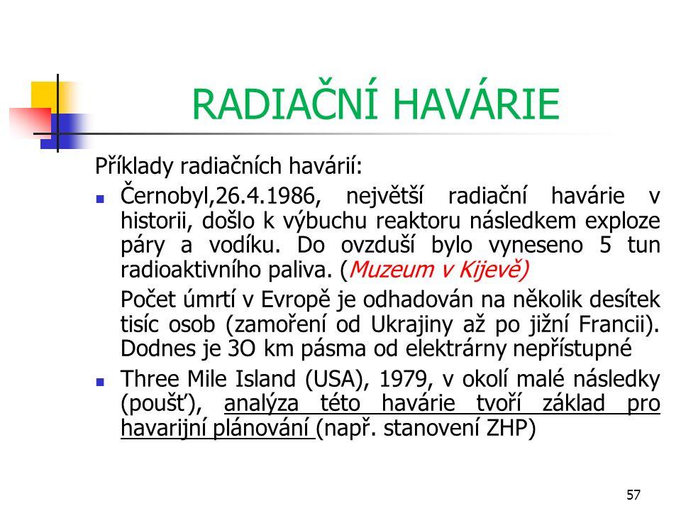 RADIAČNÍ HAVÁRIE Příklady radiačních havárií: Černobyl,26.4.1986, největší radiační havárie v historii, došlo k výbuchu reaktoru následkem exploze pár