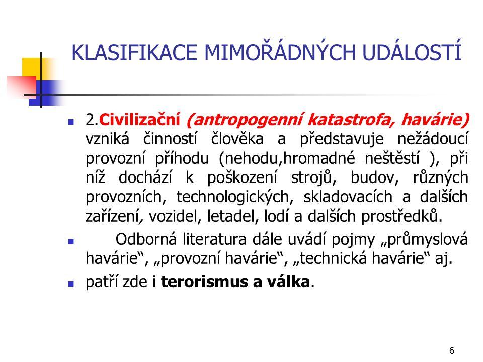 KLASIFIKACE MIMOŘÁDNÝCH UDÁLOSTÍ 2.Civilizační (antropogenní katastrofa, havárie) vzniká činností člověka a představuje nežádoucí provozní příhodu (ne
