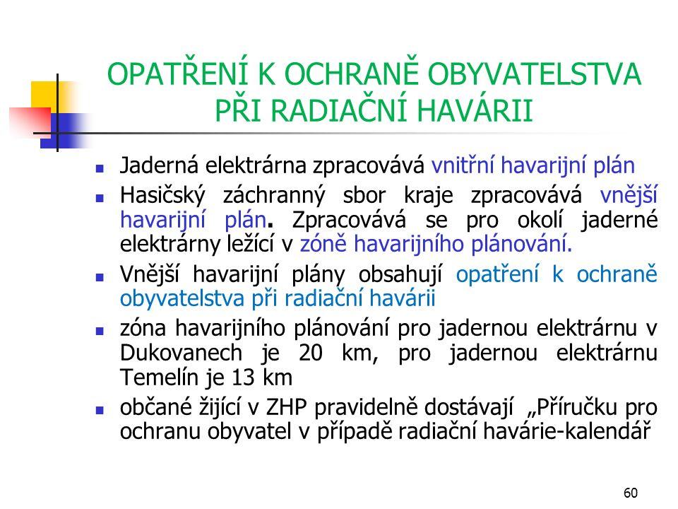 OPATŘENÍ K OCHRANĚ OBYVATELSTVA PŘI RADIAČNÍ HAVÁRII Jaderná elektrárna zpracovává vnitřní havarijní plán Hasičský záchranný sbor kraje zpracovává vnější havarijní plán.