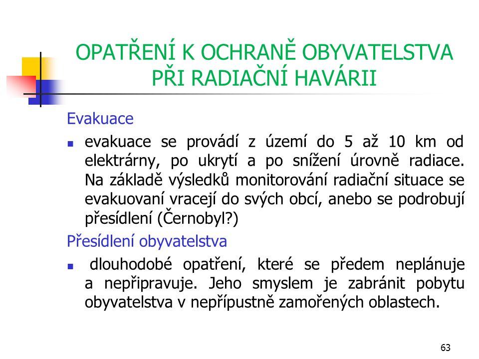 OPATŘENÍ K OCHRANĚ OBYVATELSTVA PŘI RADIAČNÍ HAVÁRII Evakuace evakuace se provádí z území do 5 až 10 km od elektrárny, po ukrytí a po snížení úrovně radiace.
