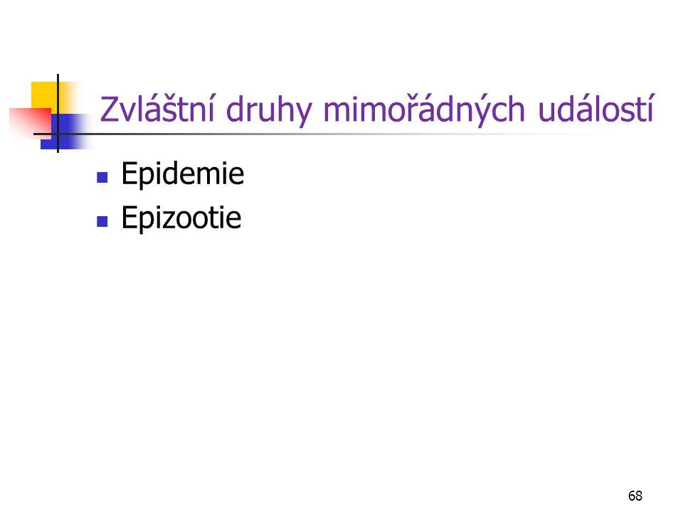 Zvláštní druhy mimořádných událostí Epidemie Epizootie 68