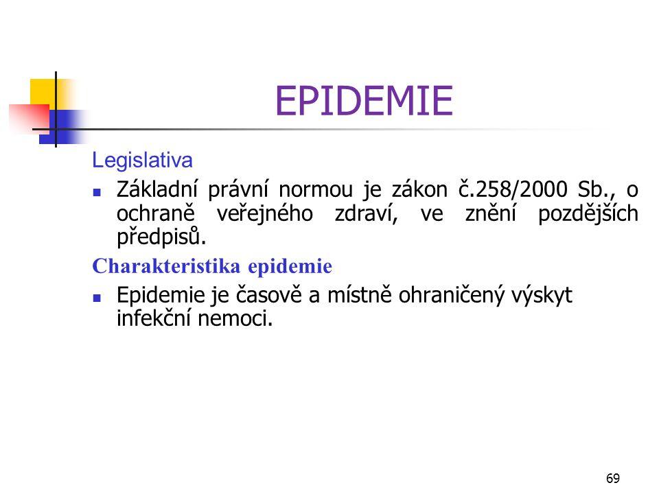 EPIDEMIE Legislativa Základní právní normou je zákon č.258/2000 Sb., o ochraně veřejného zdraví, ve znění pozdějších předpisů. Charakteristika epidemi