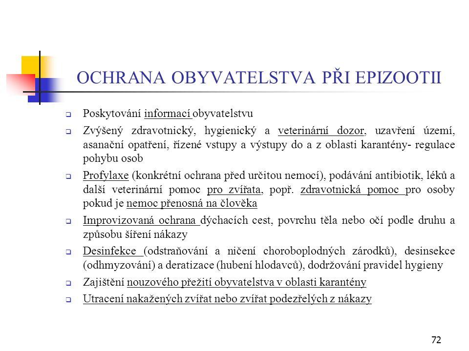OCHRANA OBYVATELSTVA PŘI EPIZOOTII  Poskytování informací obyvatelstvu  Zvýšený zdravotnický, hygienický a veterinární dozor, uzavření území, asanační opatření, řízené vstupy a výstupy do a z oblasti karantény- regulace pohybu osob  Profylaxe (konkrétní ochrana před určitou nemocí), podávání antibiotik, léků a další veterinární pomoc pro zvířata, popř.