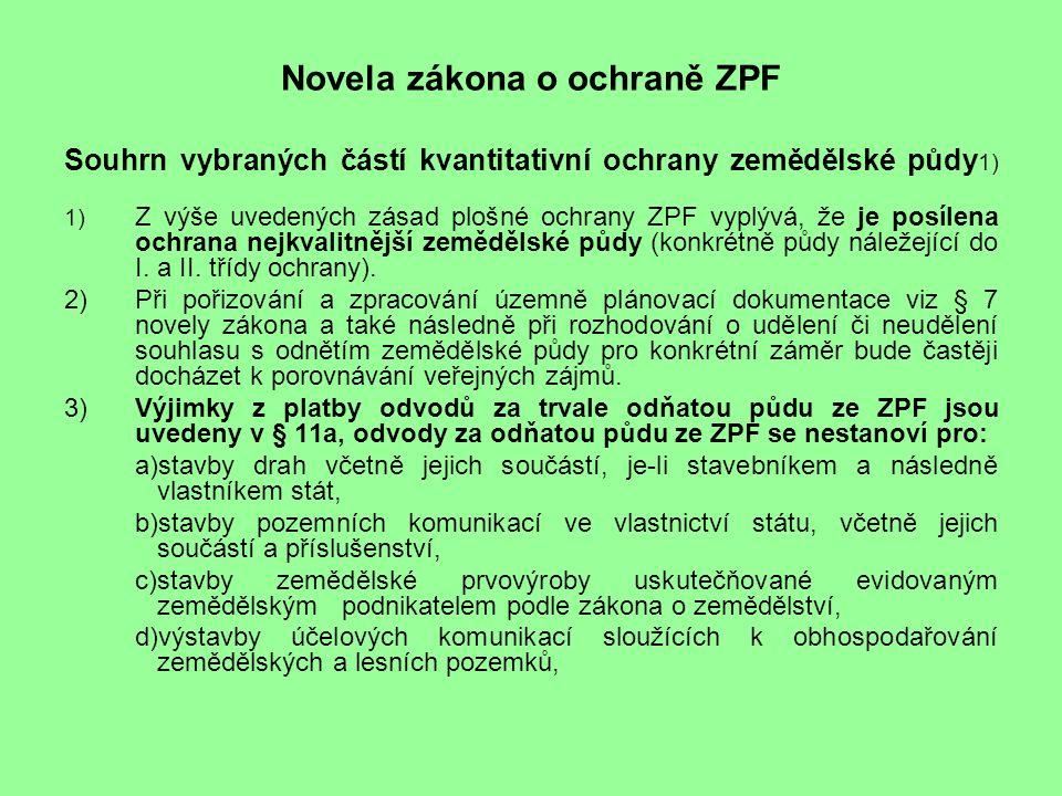 Novela zákona o ochraně ZPF Souhrn vybraných částí kvantitativní ochrany zemědělské půdy 1) 1) Z výše uvedených zásad plošné ochrany ZPF vyplývá, že je posílena ochrana nejkvalitnější zemědělské půdy (konkrétně půdy náležející do I.