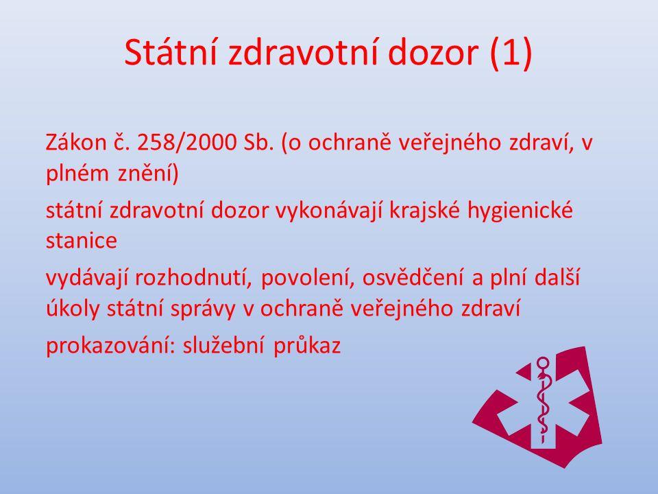 Státní zdravotní dozor (1) Zákon č. 258/2000 Sb.
