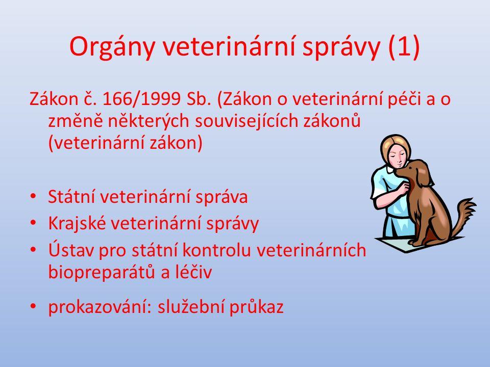Orgány veterinární správy (2) Předmět činnosti: dozor nad dodržováním povinností při výrobě, skladování, přepravě, dovozu a vývozu surovin a potravin živočišného původu