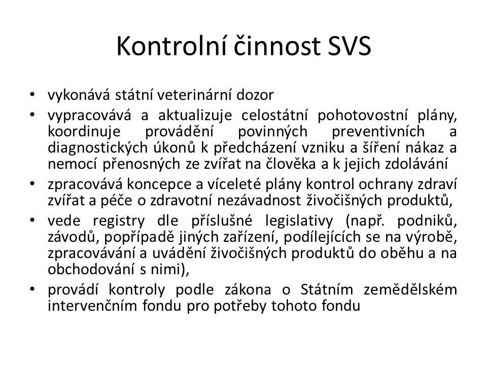 Kontrolní činnost SVS vykonává státní veterinární dozor vypracovává a aktualizuje celostátní pohotovostní plány, koordinuje provádění povinných preven