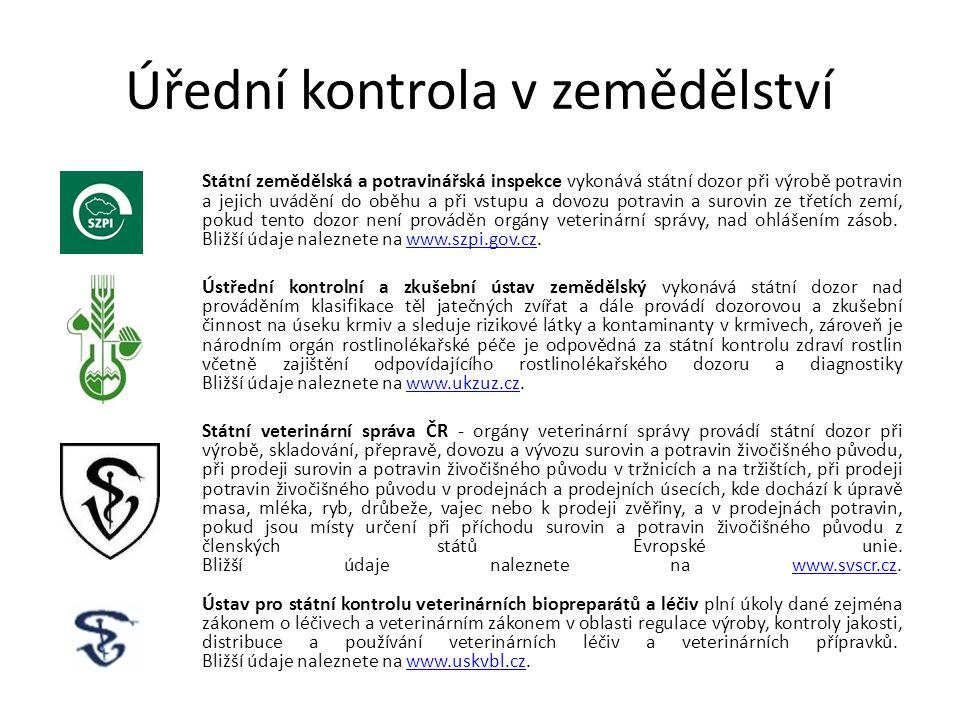 Úřední kontrola v zemědělství Státní zemědělská a potravinářská inspekce vykonává státní dozor při výrobě potravin a jejich uvádění do oběhu a při vst
