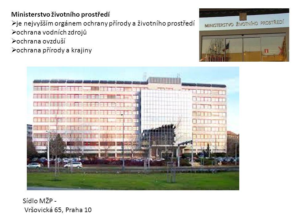 Ministerstvo životního prostředí  je nejvyšším orgánem ochrany přírody a životního prostředí  ochrana vodních zdrojů  ochrana ovzduší  ochrana přírody a krajiny Sídlo MŽP - Vršovická 65, Praha 10