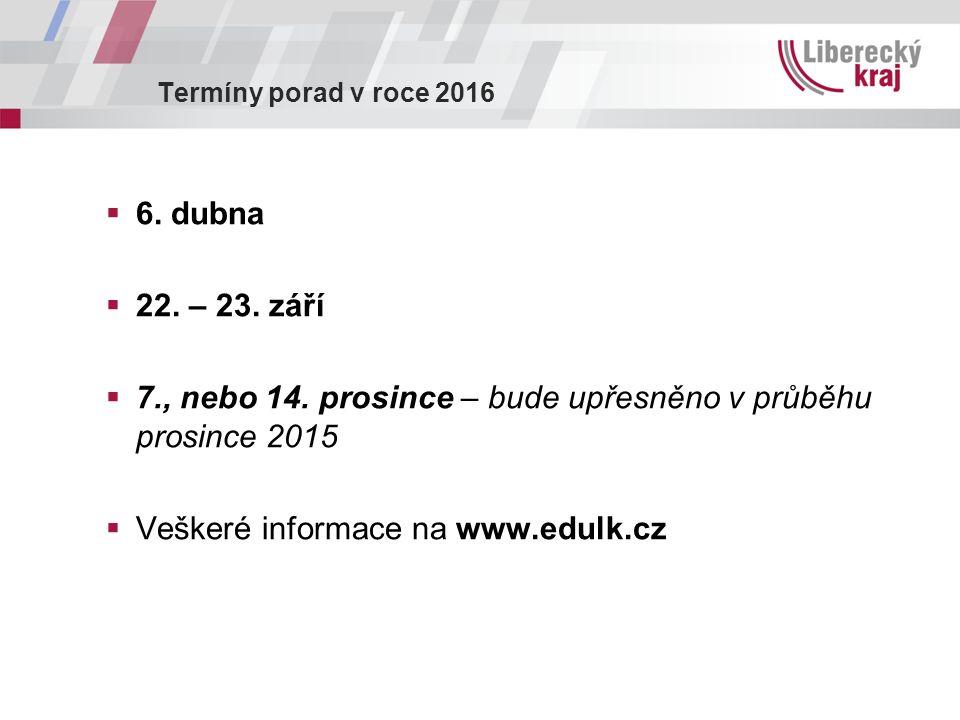 Termíny porad v roce 2016  6. dubna  22. – 23. září  7., nebo 14. prosince – bude upřesněno v průběhu prosince 2015  Veškeré informace na www.edul