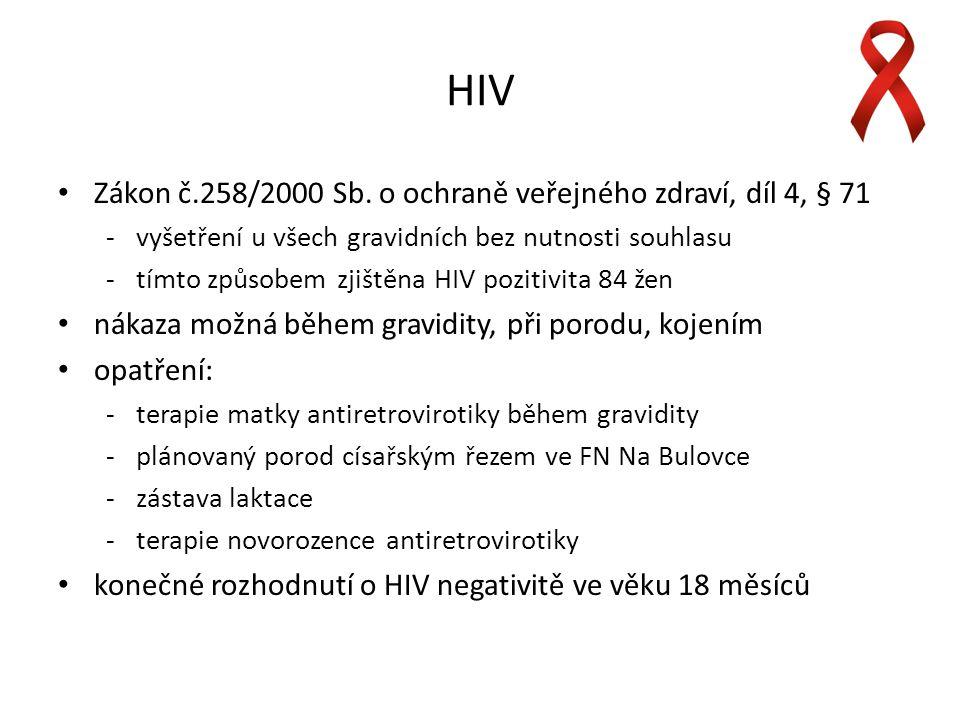 HIV Zákon č.258/2000 Sb. o ochraně veřejného zdraví, díl 4, § 71 vyšetření u všech gravidních bez nutnosti souhlasu tímto způsobem zjištěna HIV pozi