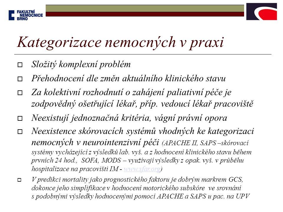 Kategorizace nemocných v praxi  Složitý komplexní problém  Přehodnocení dle změn aktuálního klinického stavu  Za kolektivní rozhodnutí o zahájení p