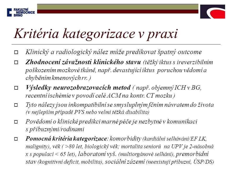 Kritéria kategorizace v praxi  Klinický a radiologický nález může predikovat špatný outcome  Zhodnocení závažnosti klinického stavu (těžký iktus s i