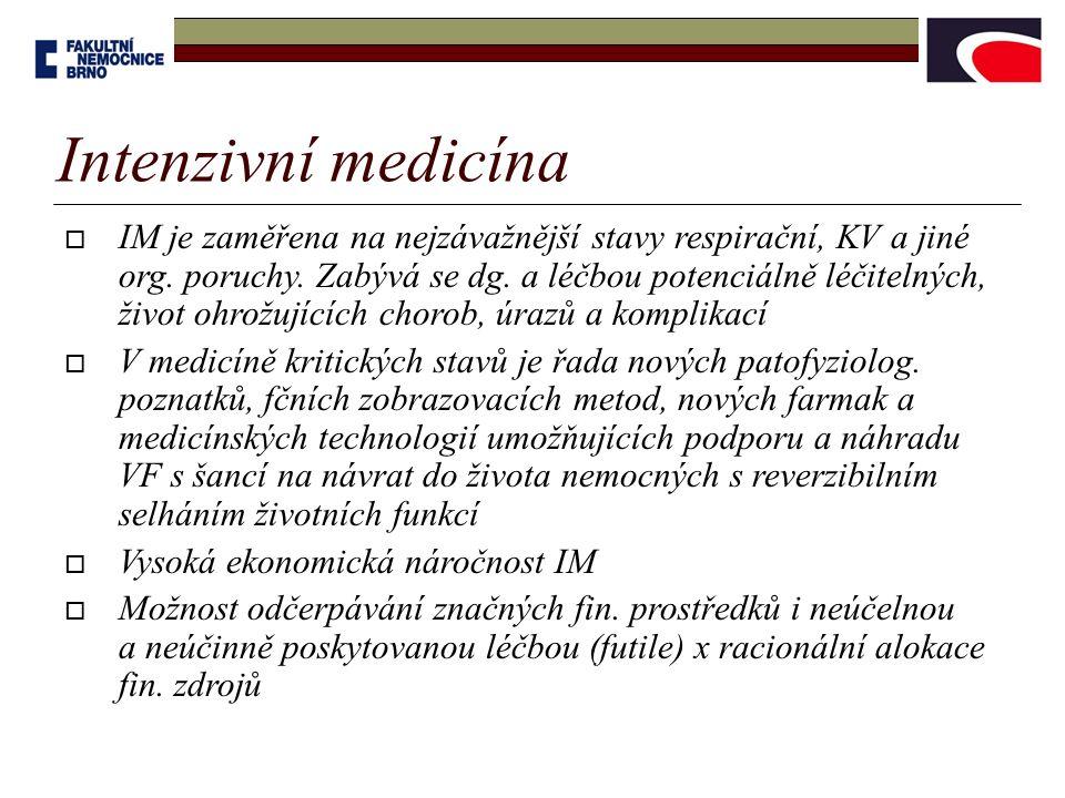 Intenzivní medicína  IM je zaměřena na nejzávažnější stavy respirační, KV a jiné org. poruchy. Zabývá se dg. a léčbou potenciálně léčitelných, život