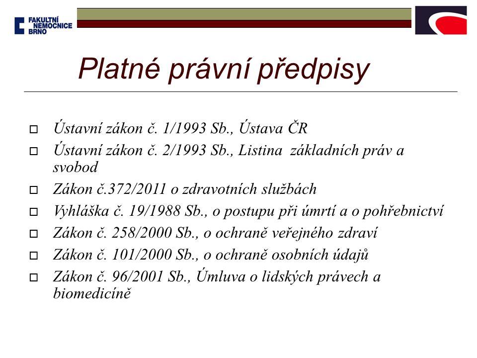 Platné právní předpisy  Ústavní zákon č.1/1993 Sb., Ústava ČR  Ústavní zákon č.