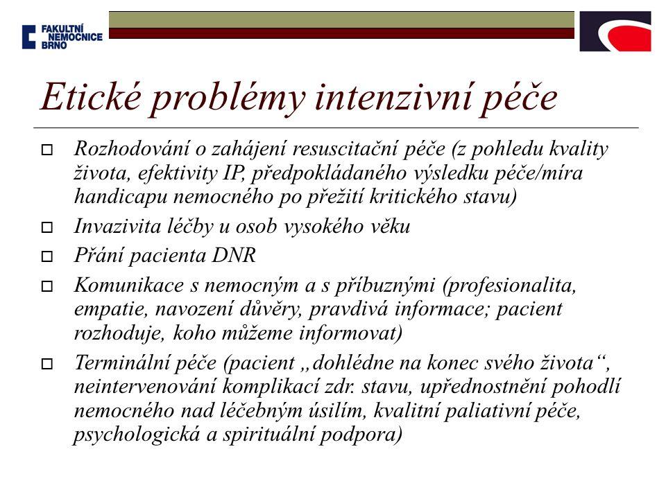 """ Rozhodování o zahájení resuscitační péče (z pohledu kvality života, efektivity IP, předpokládaného výsledku péče/míra handicapu nemocného po přežití kritického stavu)  Invazivita léčby u osob vysokého věku  Přání pacienta DNR  Komunikace s nemocným a s příbuznými (profesionalita, empatie, navození důvěry, pravdivá informace; pacient rozhoduje, koho můžeme informovat)  Terminální péče (pacient """"dohlédne na konec svého života , neintervenování komplikací zdr."""