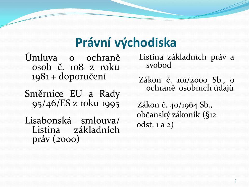 Právní východiska Úmluva o ochraně osob č. 108 z roku 1981 + doporučení Směrnice EU a Rady 95/46/ES z roku 1995 Lisabonská smlouva/ Listina základních