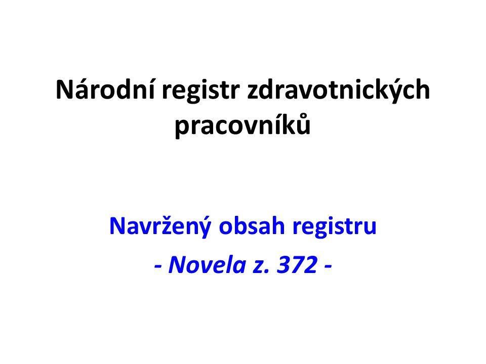 Národní registr zdravotnických pracovníků Navržený obsah registru - Novela z. 372 -