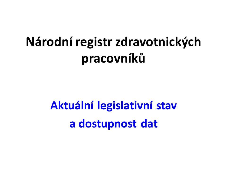 Národní registr zdravotnických pracovníků Aktuální legislativní stav a dostupnost dat