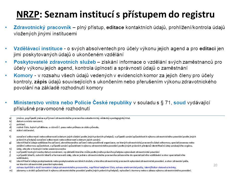 NRZP: Seznam institucí s přístupem do registru 20 Zdravotnický pracovník – plný přístup, editace kontaktních údajů, prohlížení/kontrola údajů vložených jinými institucemi Vzdělávací instituce - o svých absolventech pro účely výkonu jejich agend a pro editaci jen jimi poskytovaných údajů o ukončeném vzdělání Poskytovatelé zdravotních služeb – získání informace o vzdělání svých zaměstnanců pro účely výkonu jejich agend, kontrola úplnosti a správnosti údajů o zaměstnání Komory - v rozsahu všech údajů vedených v evidencích komor za jejich členy pro účely kontroly, zápis údajů souvisejících s ukončením nebo přerušením výkonu zdravotnického povolání na základě rozhodnutí komory Ministerstvo vnitra nebo Policie České republiky v souladu s § 71, soud vydávající příslušné pravomocné rozhodnutí a)jméno, popřípadě jména a příjmení zdravotnického pracovníka a akademický, vědecký a pedagogický titul, b)datum a místo narození, c)pohlaví, d)rodné číslo, bylo-li přiděleno, u cizinců č.