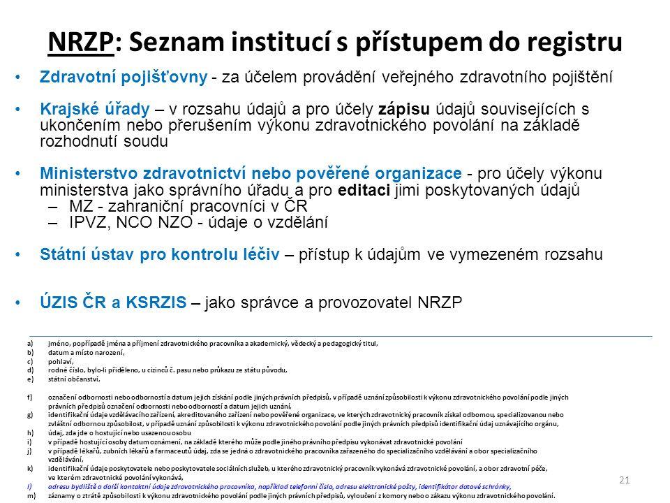 Zdravotní pojišťovny - za účelem provádění veřejného zdravotního pojištění Krajské úřady – v rozsahu údajů a pro účely zápisu údajů souvisejících s ukončením nebo přerušením výkonu zdravotnického povolání na základě rozhodnutí soudu Ministerstvo zdravotnictví nebo pověřené organizace - pro účely výkonu ministerstva jako správního úřadu a pro editaci jimi poskytovaných údajů –MZ - zahraniční pracovníci v ČR –IPVZ, NCO NZO - údaje o vzdělání Státní ústav pro kontrolu léčiv – přístup k údajům ve vymezeném rozsahu ÚZIS ČR a KSRZIS – jako správce a provozovatel NRZP 21 NRZP: Seznam institucí s přístupem do registru a)jméno, popřípadě jména a příjmení zdravotnického pracovníka a akademický, vědecký a pedagogický titul, b)datum a místo narození, c)pohlaví, d)rodné číslo, bylo-li přiděleno, u cizinců č.