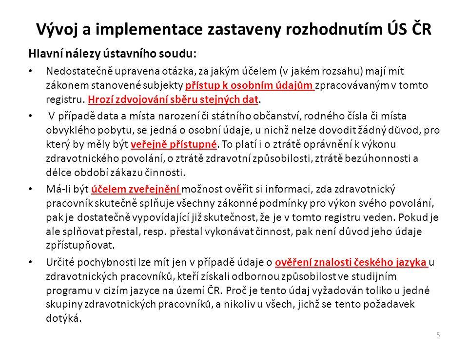 Vývoj a implementace zastaveny rozhodnutím ÚS ČR Hlavní nálezy ústavního soudu: Nedostatečně upravena otázka, za jakým účelem (v jakém rozsahu) mají mít zákonem stanovené subjekty přístup k osobním údajům zpracovávaným v tomto registru.