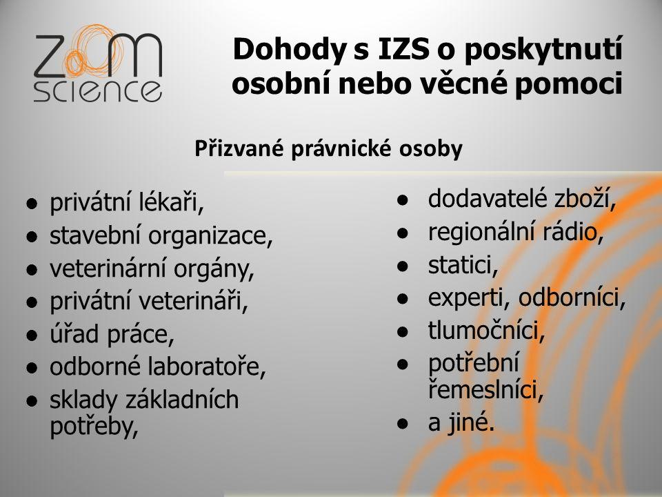 Dohody s IZS o poskytnutí osobní nebo věcné pomoci Přizvané právnické osoby privátní lékaři, stavební organizace, veterinární orgány, privátní veterin