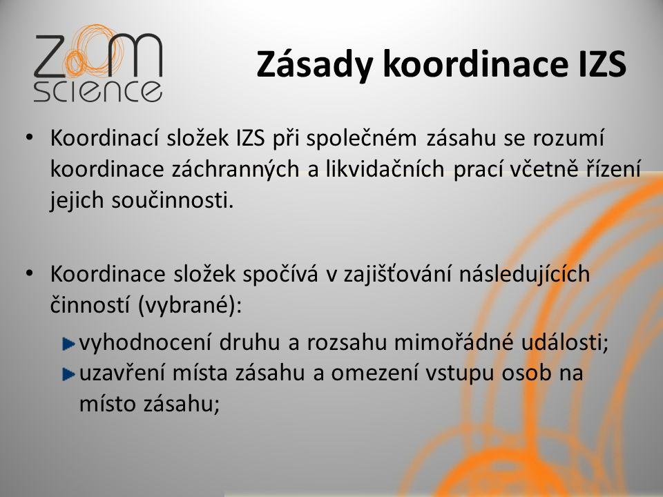 Zásady koordinace IZS Koordinací složek IZS při společném zásahu se rozumí koordinace záchranných a likvidačních prací včetně řízení jejich součinnost
