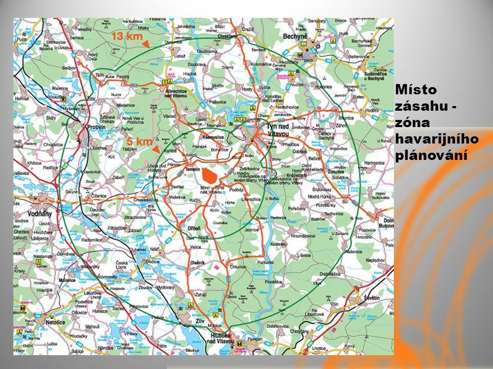 Místo zásahu - zóna havarijního plánování