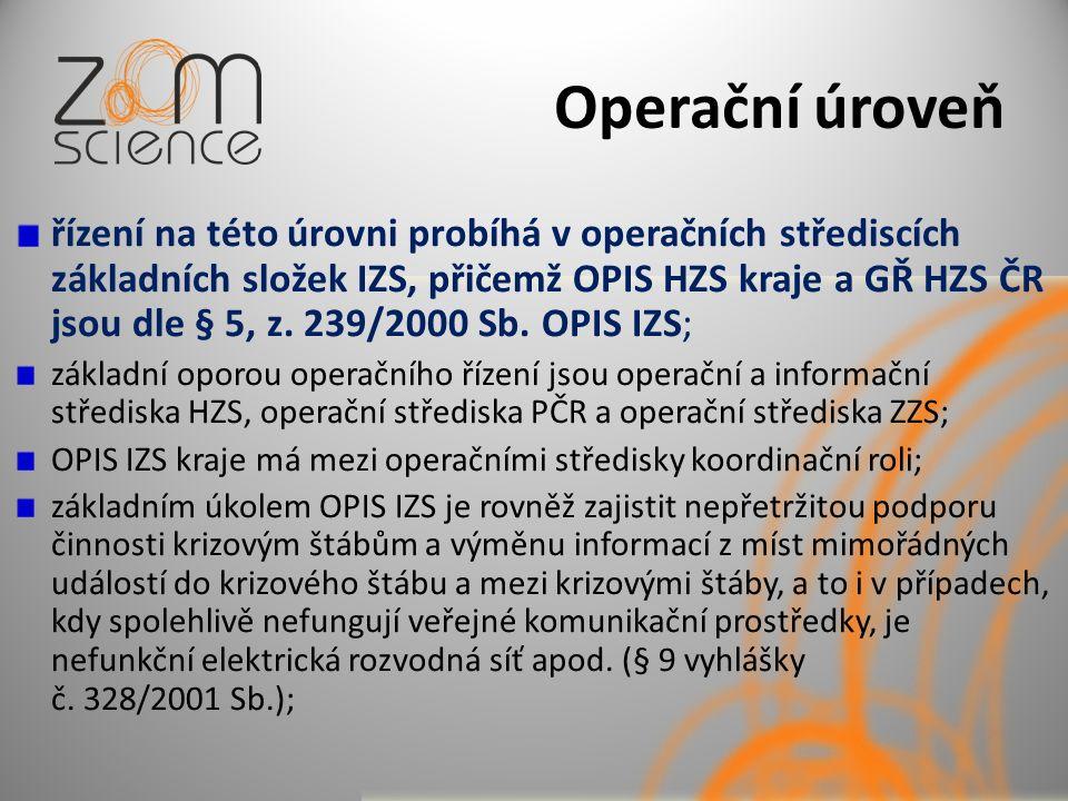 Operační úroveň řízení na této úrovni probíhá v operačních střediscích základních složek IZS, přičemž OPIS HZS kraje a GŘ HZS ČR jsou dle § 5, z. 239/