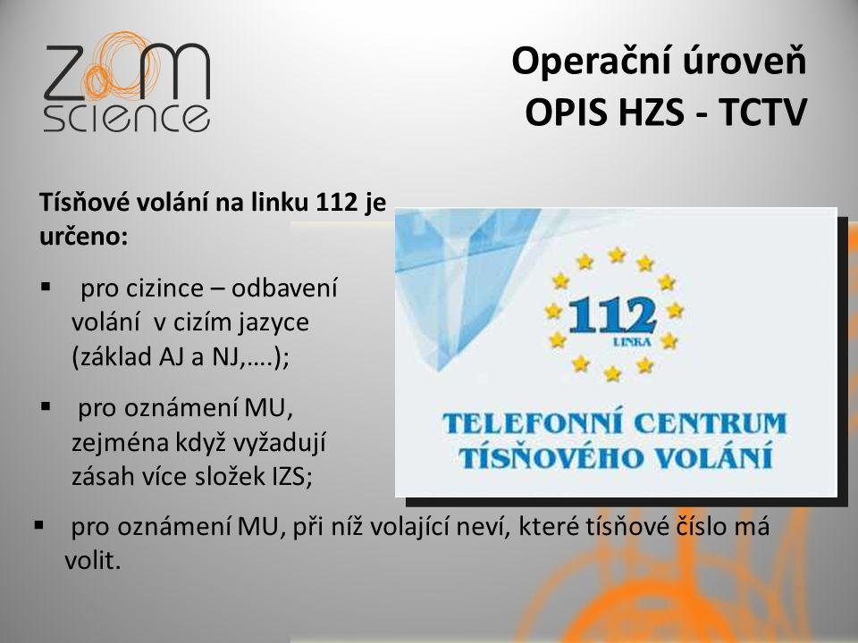 Operační úroveň OPIS HZS - TCTV Tísňové volání na linku 112 je určeno:  pro cizince – odbavení volání v cizím jazyce (základ AJ a NJ,….);  pro oznámení MU, zejména když vyžadují zásah více složek IZS;  pro oznámení MU, při níž volající neví, které tísňové číslo má volit.