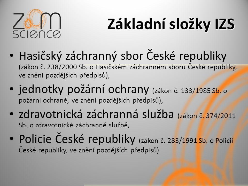 Základní složky IZS Hasičský záchranný sbor České republiky (zákon č.