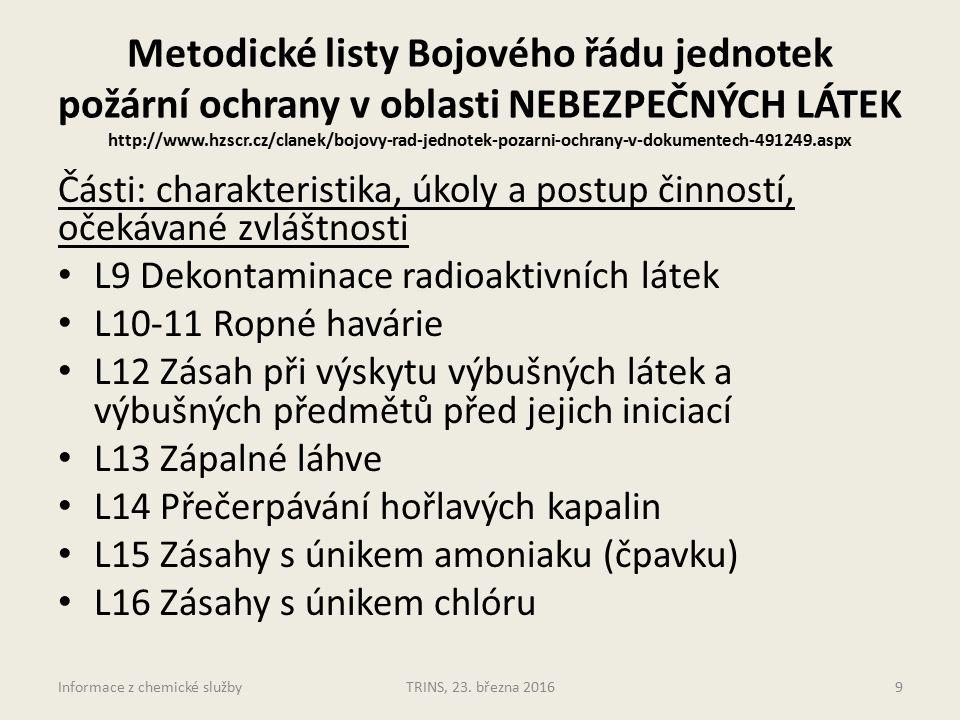 Metodické listy Bojového řádu jednotek požární ochrany v oblasti NEBEZPEČNÝCH LÁTEK http://www.hzscr.cz/clanek/bojovy-rad-jednotek-pozarni-ochrany-v-dokumentech-491249.aspx Části: charakteristika, úkoly a postup činností, očekávané zvláštnosti L9 Dekontaminace radioaktivních látek L10-11 Ropné havárie L12 Zásah při výskytu výbušných látek a výbušných předmětů před jejich iniciací L13 Zápalné láhve L14 Přečerpávání hořlavých kapalin L15 Zásahy s únikem amoniaku (čpavku) L16 Zásahy s únikem chlóru TRINS, 23.