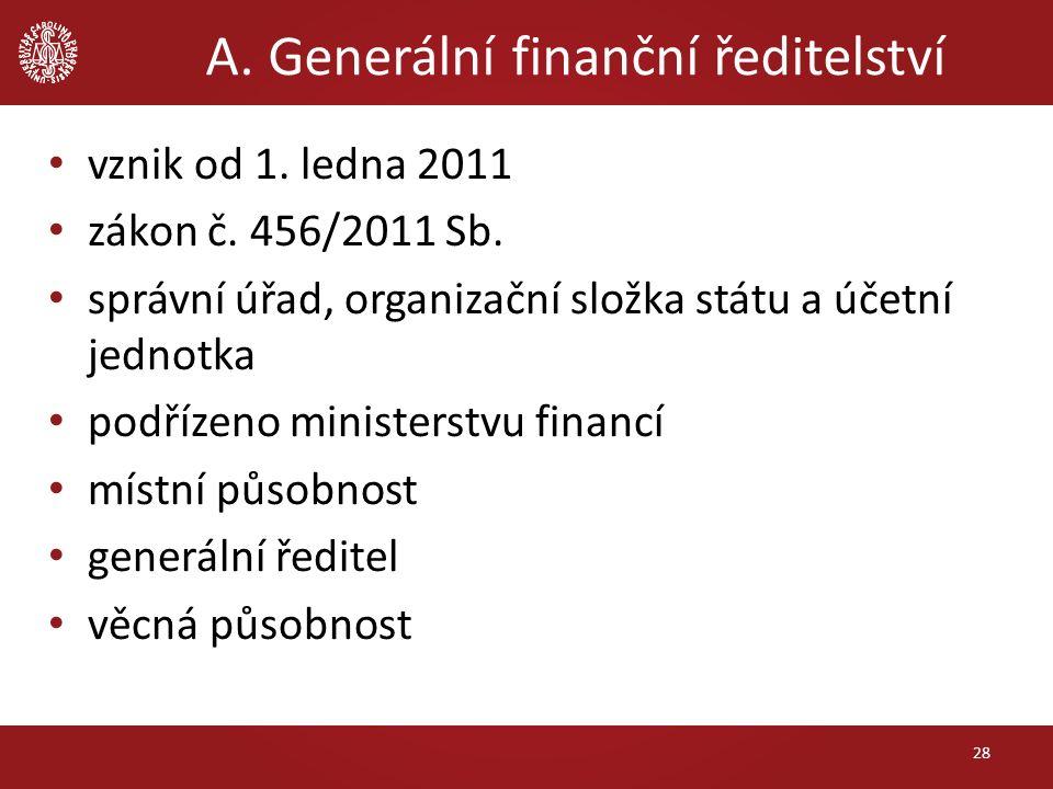 A. Generální finanční ředitelství vznik od 1. ledna 2011 zákon č. 456/2011 Sb. správní úřad, organizační složka státu a účetní jednotka podřízeno mini