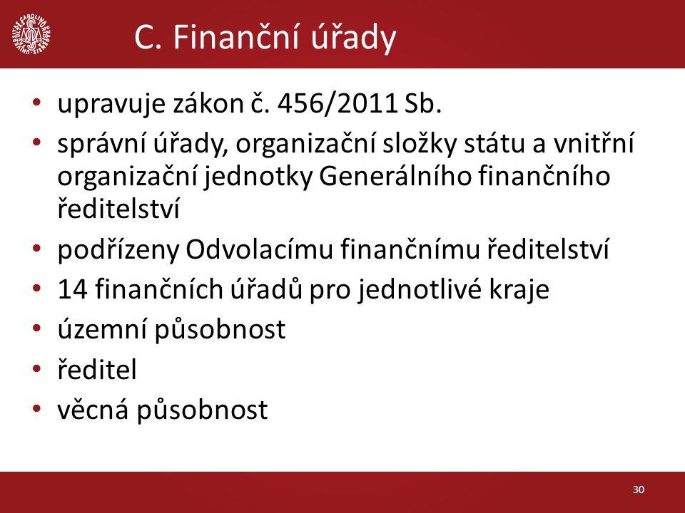 C. Finanční úřady upravuje zákon č. 456/2011 Sb. správní úřady, organizační složky státu a vnitřní organizační jednotky Generálního finančního ředitel