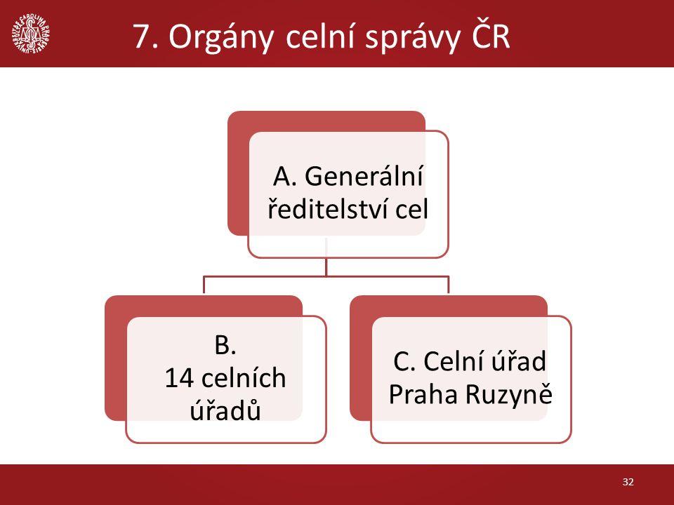 7. Orgány celní správy ČR 32 A. Generální ředitelství cel B. 14 celních úřadů C. Celní úřad Praha Ruzyně