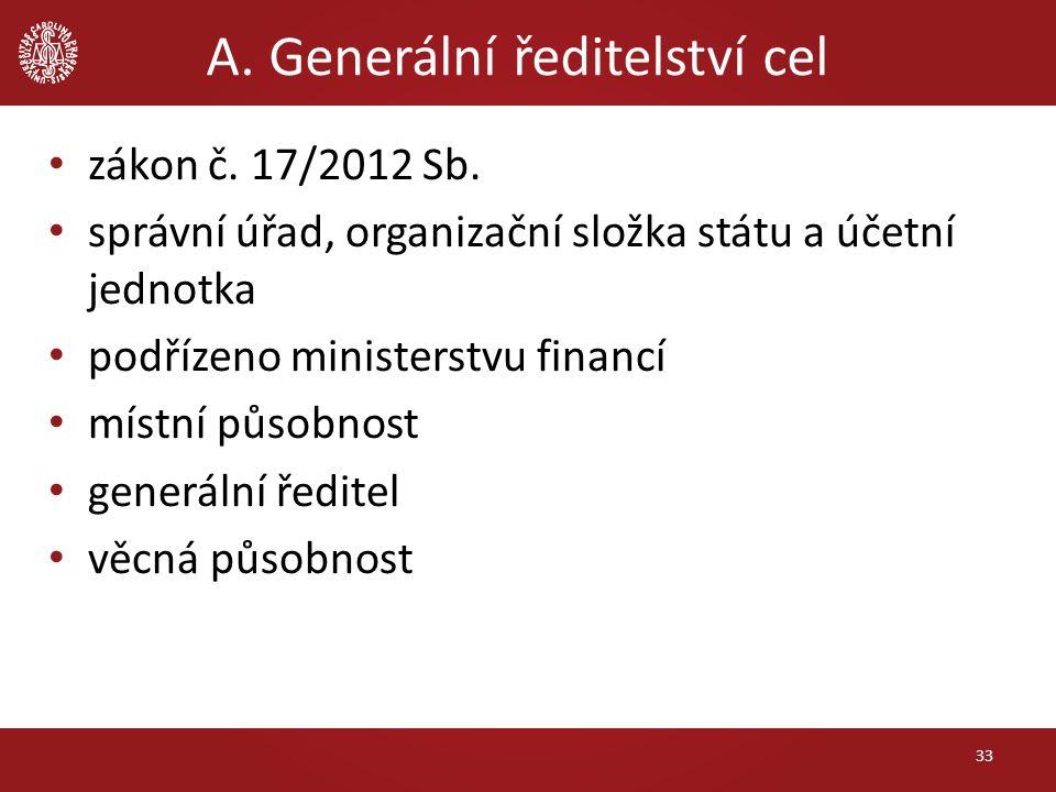 A. Generální ředitelství cel zákon č. 17/2012 Sb. správní úřad, organizační složka státu a účetní jednotka podřízeno ministerstvu financí místní působ