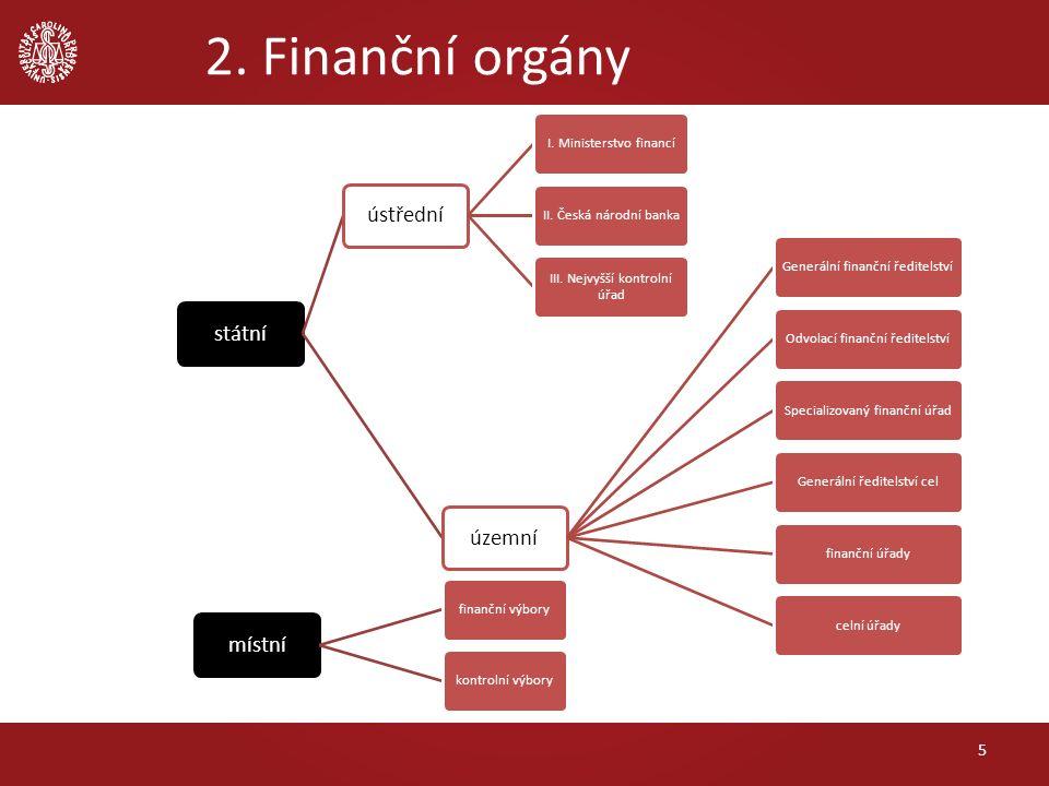 2. Finanční orgány 5 státníústřední I. Ministerstvo financíII. Česká národní banka III. Nejvyšší kontrolní úřad územní Generální finanční ředitelstvíO