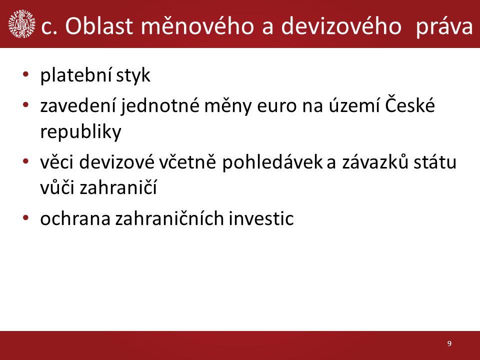 c. Oblast měnového a devizového práva platební styk zavedení jednotné měny euro na území České republiky věci devizové včetně pohledávek a závazků stá