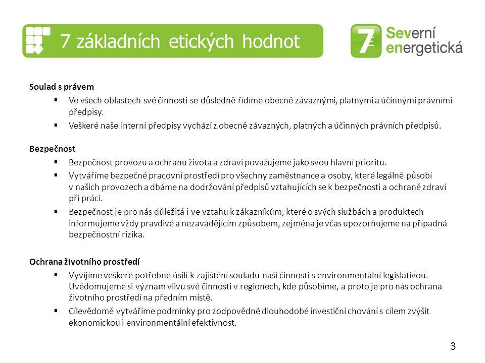 7 základních etických hodnot Soulad s právem  Ve všech oblastech své činnosti se důsledně řídíme obecně závaznými, platnými a účinnými právními předpisy.