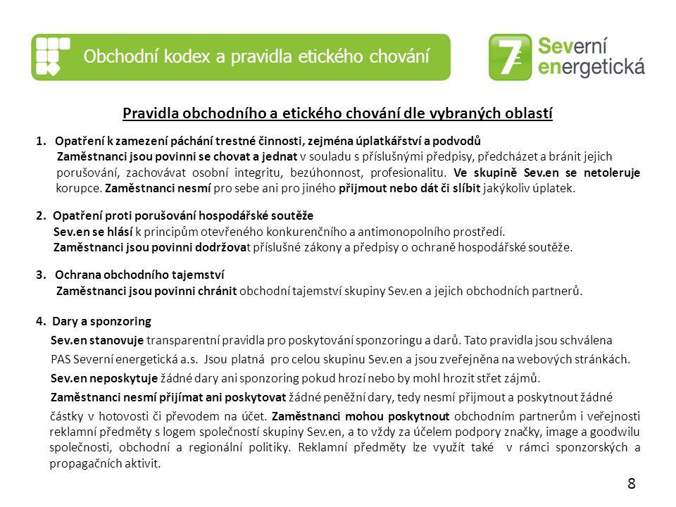 Obchodní kodex a pravidla etického chování Pravidla obchodního a etického chování dle vybraných oblastí 1.