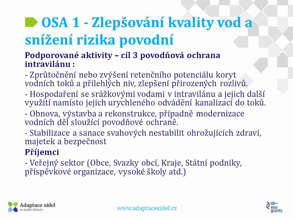 www.adaptacesidel.cz OSA 1 - Zlepšování kvality vod a snížení rizika povodní Úprava koryta toku Grygava