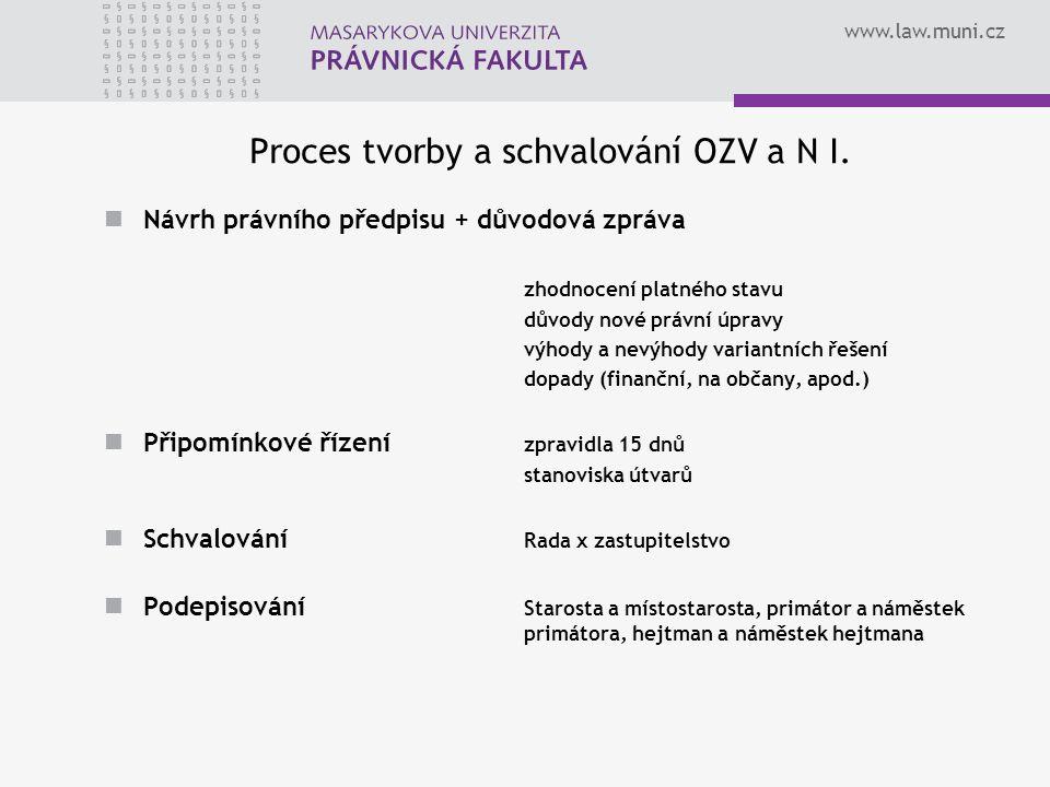 www.law.muni.cz Proces tvorby a schvalování OZV a N I.