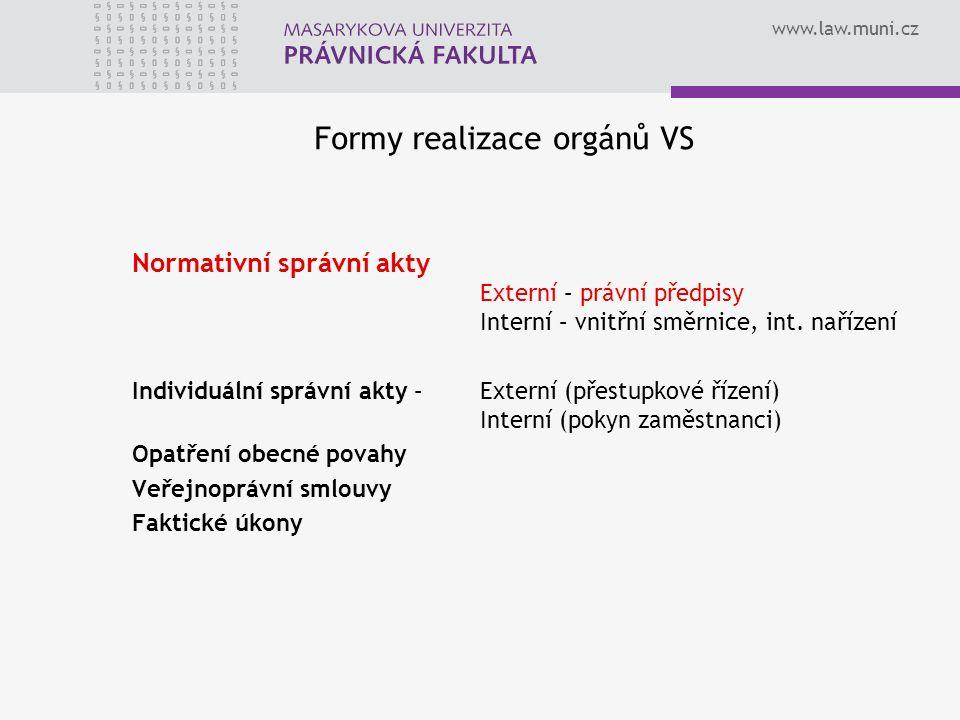 www.law.muni.cz Formy realizace orgánů VS Normativní správní akty Externí – právní předpisy Interní – vnitřní směrnice, int.