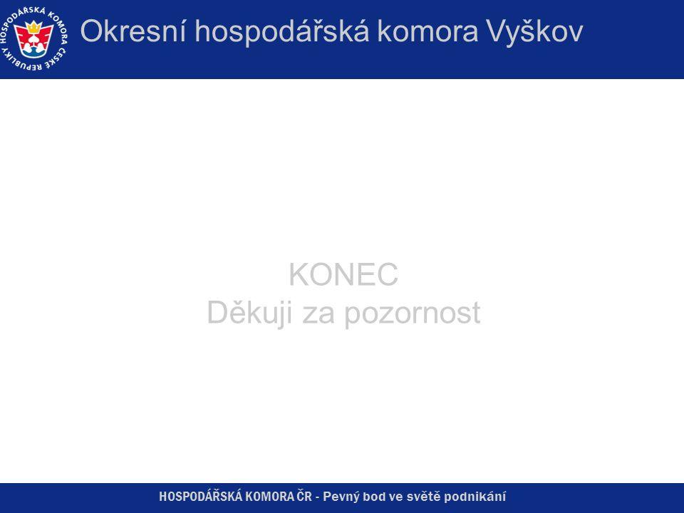 HOSPODÁŘSKÁ KOMORA ČR - Pevný bod ve světě podnikání Okresní hospodářská komora Vyškov KONEC Děkuji za pozornost
