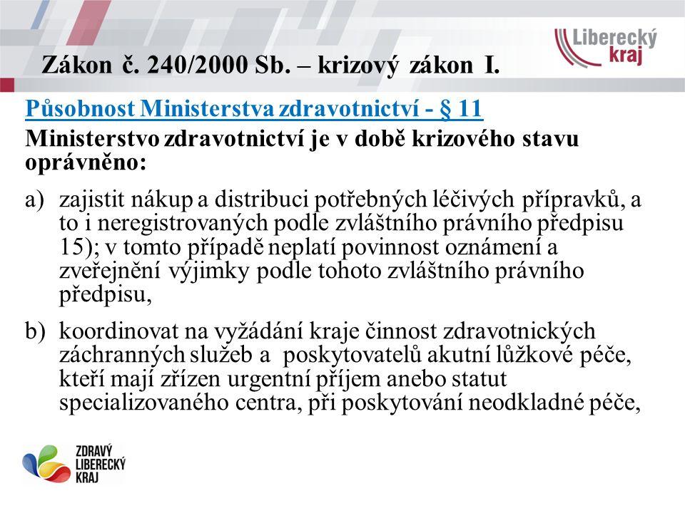 Zákon č. 240/2000 Sb. – krizový zákon I.